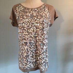 LOFT sz M grey shirt with pailettes